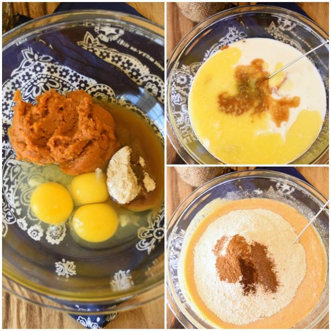 collage of pumpkin pie pancake ingredients