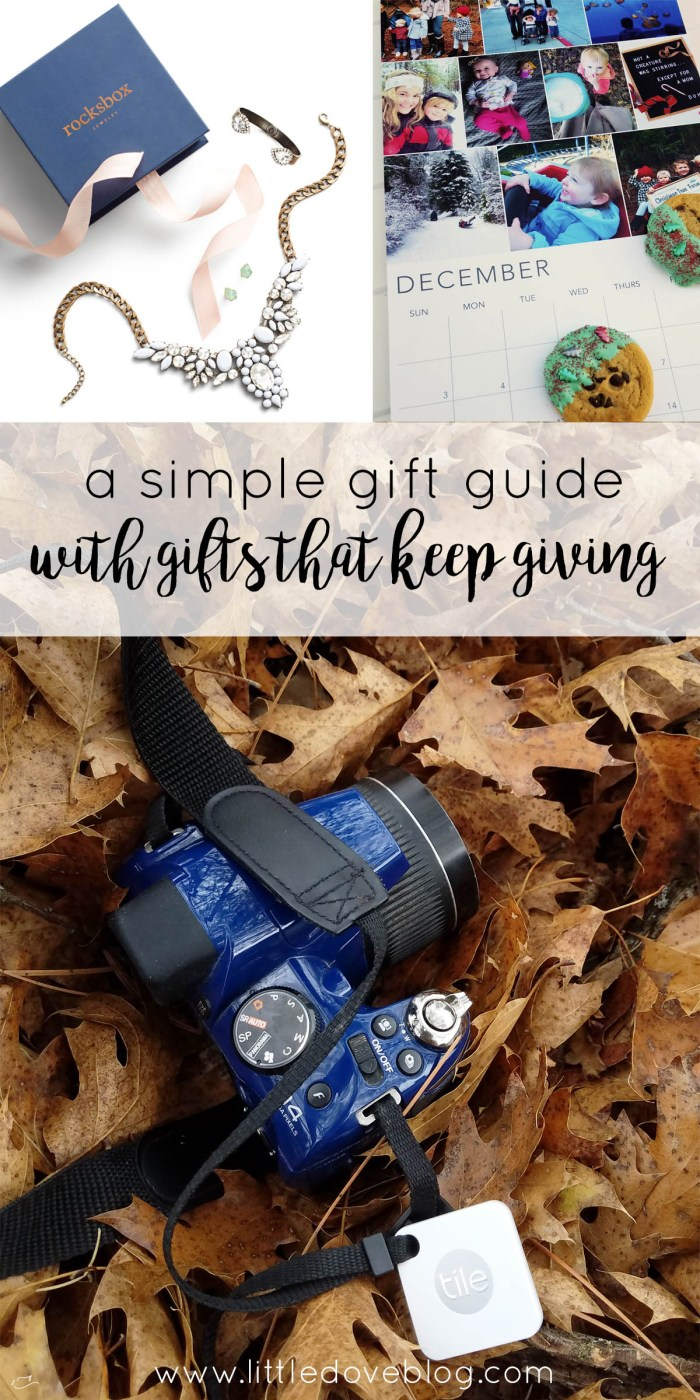 a simple gift guide with gifts that keep giving