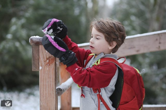 boy getting snow on his mittens