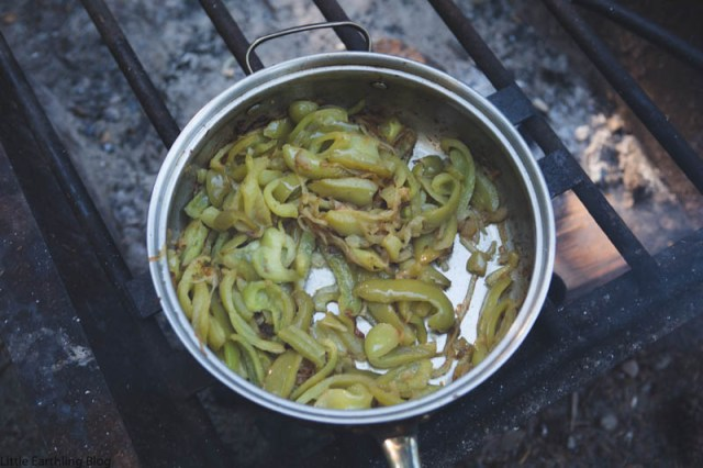 Green peppers and onions ready to be added to our campfire cheesesteaks.