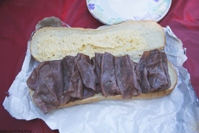 I used deli roast beef to keep our campfire cheesesteaks as simple as possible.