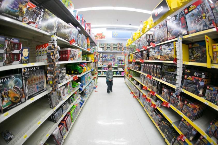 Shopping for LEGO in Walmart.