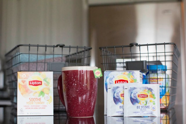 Include Tea in Your Get Well Basket I am a coffee drinker for sure but I'll tell you what, when I'm sick, I want to sip tea with honey. Two of my favorites for sickness are Lipton Soothe Your Tummy Tea and Lipton Bedtime Bliss Tea.