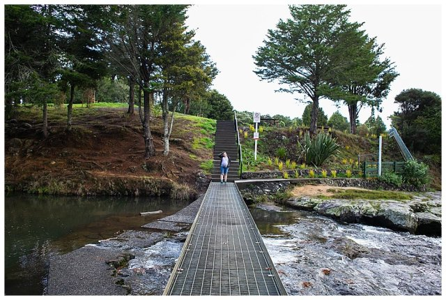 Walking along Whangarei Falls with Tilly.
