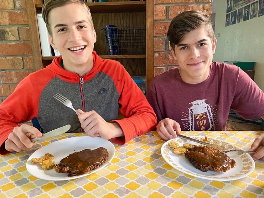 All the nitty-gritty details of homeschooling high school. Hezekiah and Tucker make cube steak.