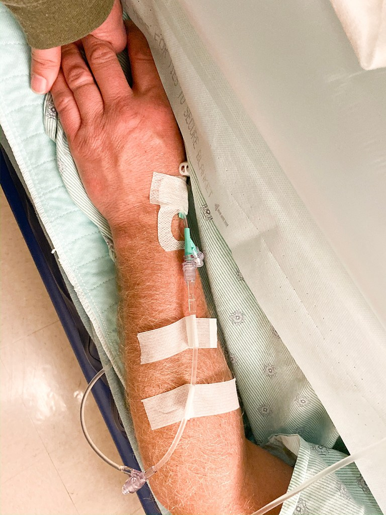 Arm full of iv's after surgery