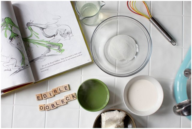 Make edible oobleck to celebrate dr seuss's birthday.