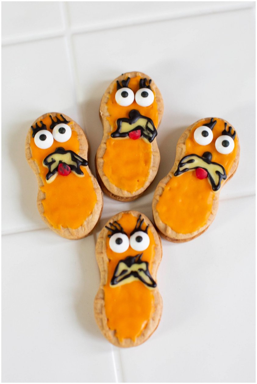 These adorable Lorax cookies are made with Nutter Butters and royal icing.