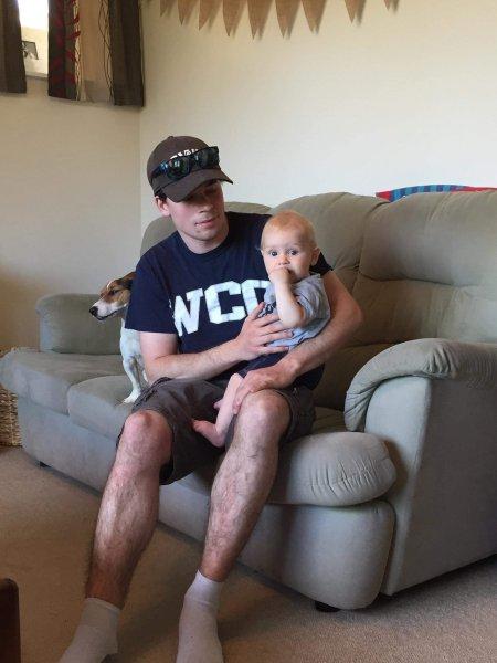 Judah holding Abel. New Zealand 2020;
