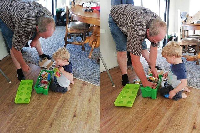 Chuck giving Percival his first set of LEGO bricks.