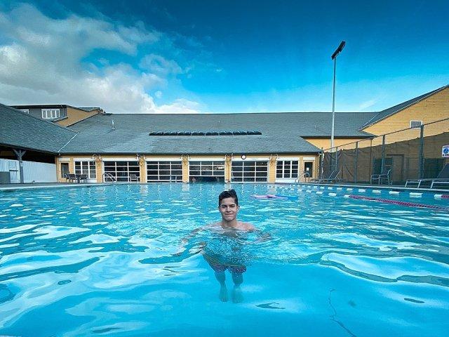 Tucker in pool at Semiahmoo Resort.