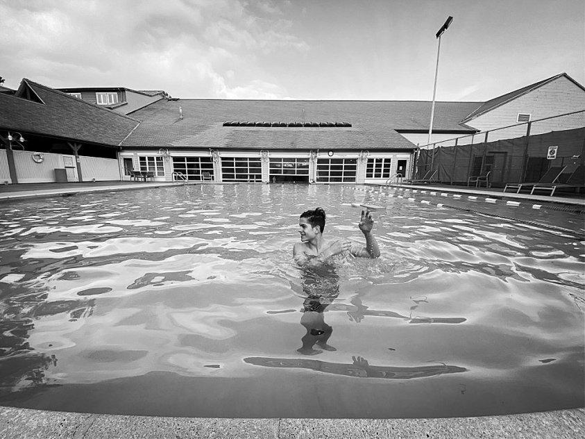Tucker swimming in pool at Semiahmoo resort.