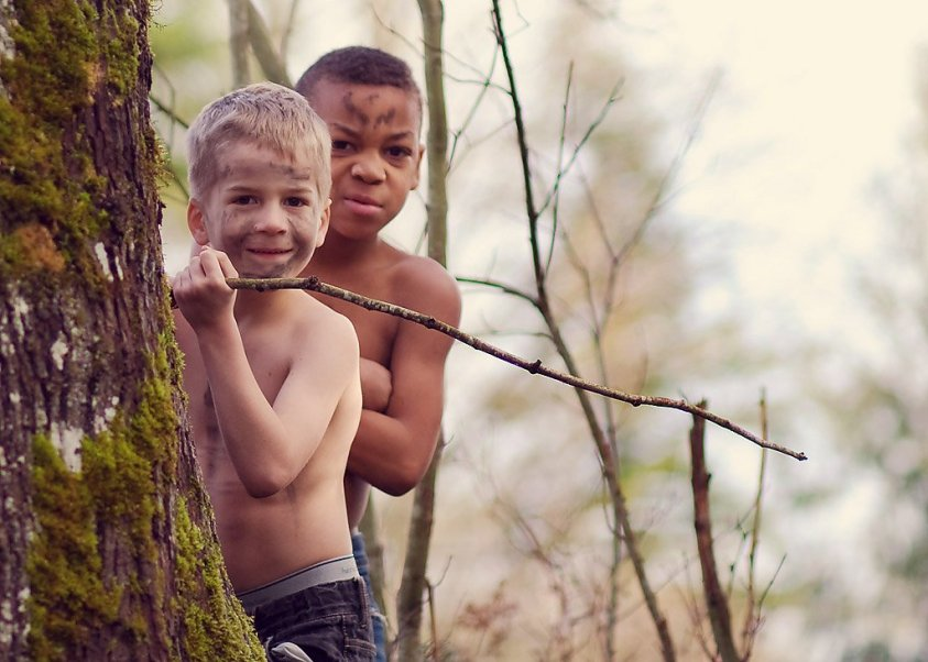 Hezekiah and Mordecai in the woods.