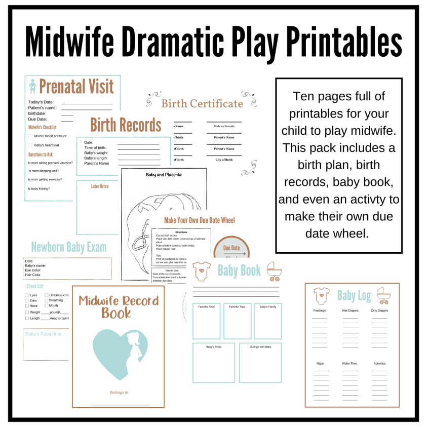 Midwife and Birth Printables for Dramatic Play