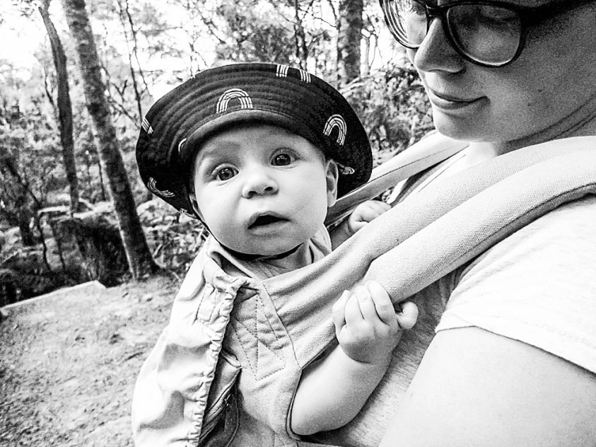 Abel in the ergo baby carrier, looking adorable, as always.