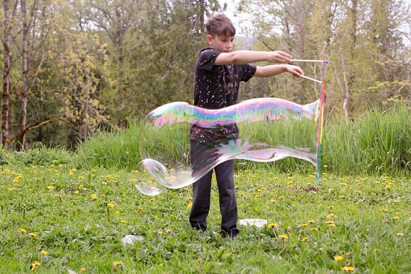 Even kids can easily make giant bubbles.