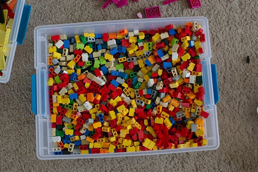 Soring LEGO bricks by piece makes it easy to locate specifics and helps if you want to rebuild sets.