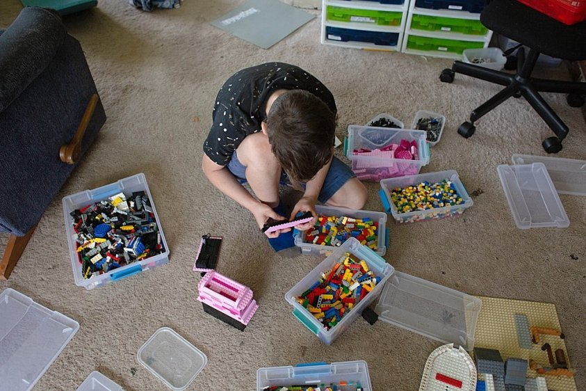 Having LEGO bricks organized makes it easy for kids to find the pieces they need.