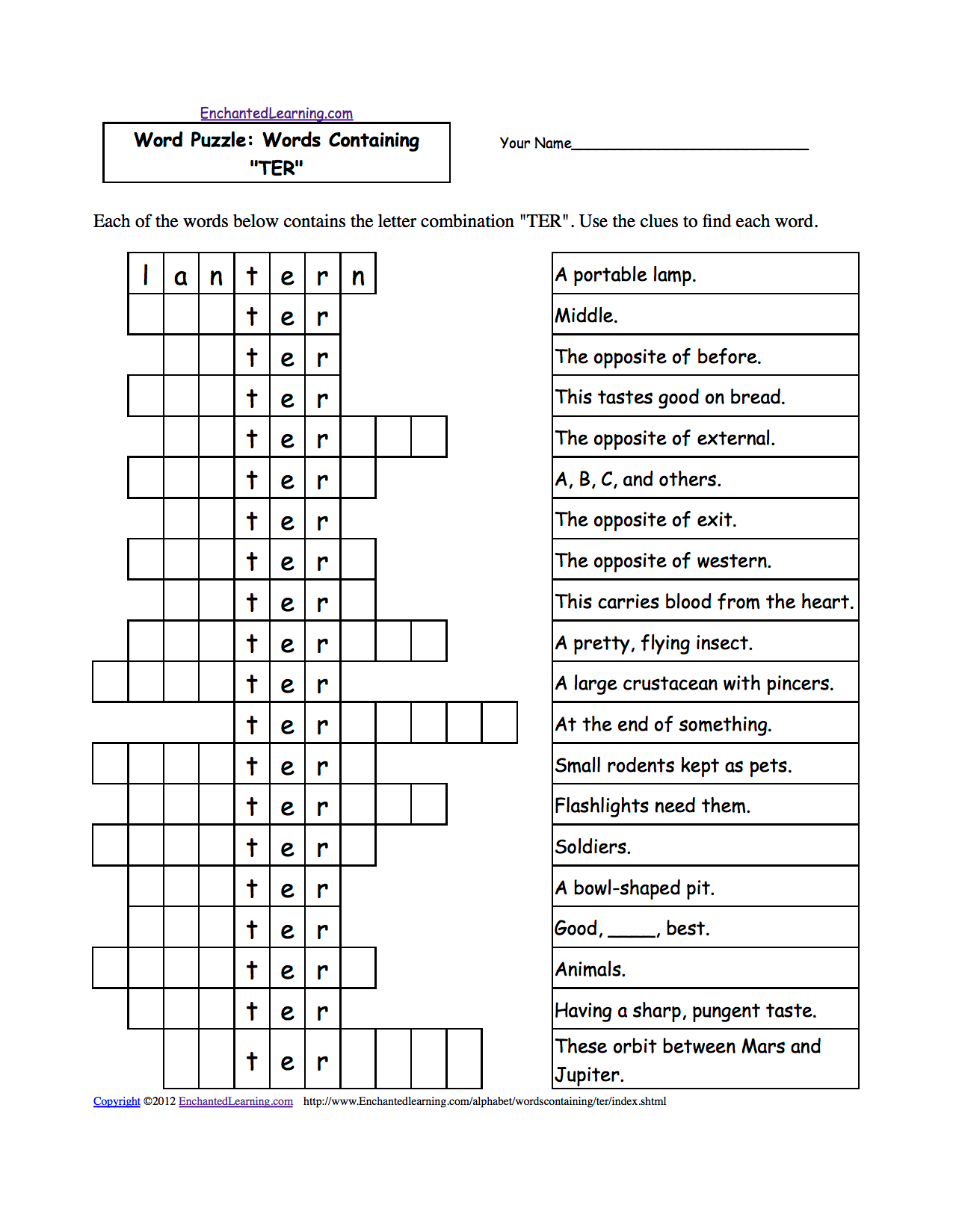 Word Puzzles Words Containing Three Letter Combinations Worksheets To Print