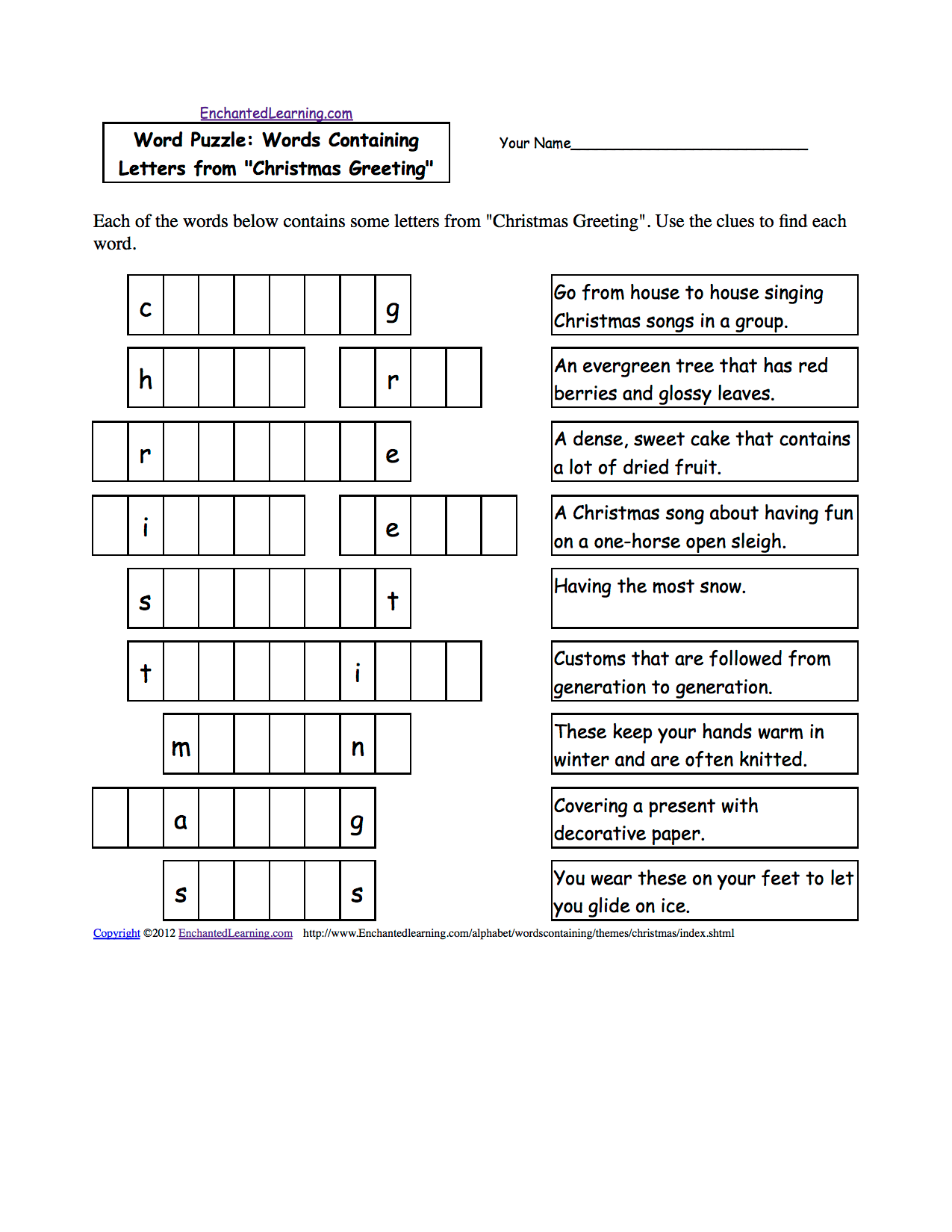Christmas Activities Spelling Worksheets