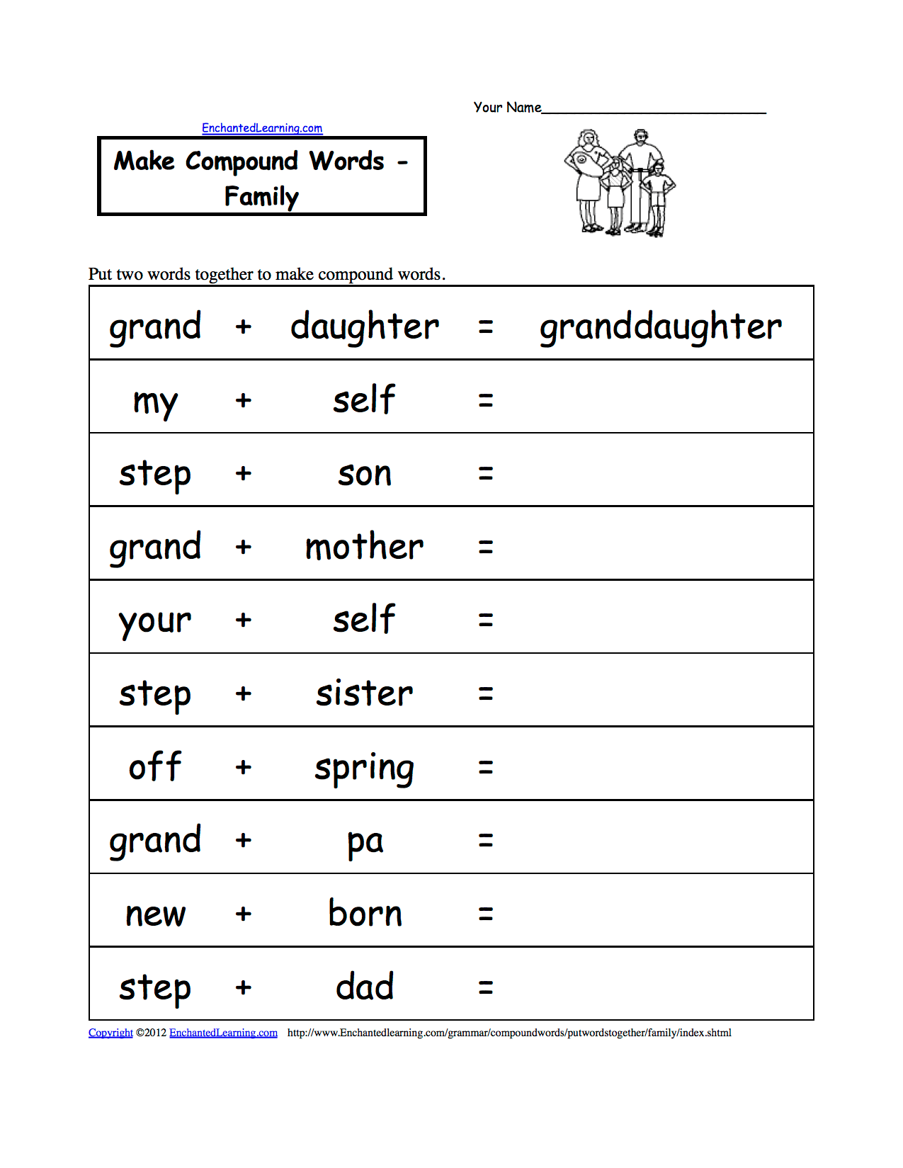 New 305 My Family Worksheet In French