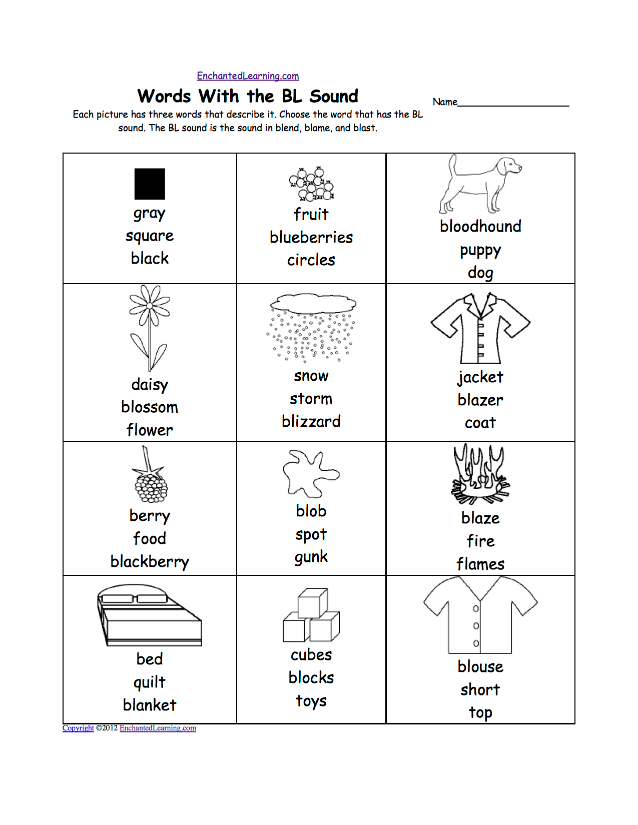 Bl Blend Worksheets Kindergarten