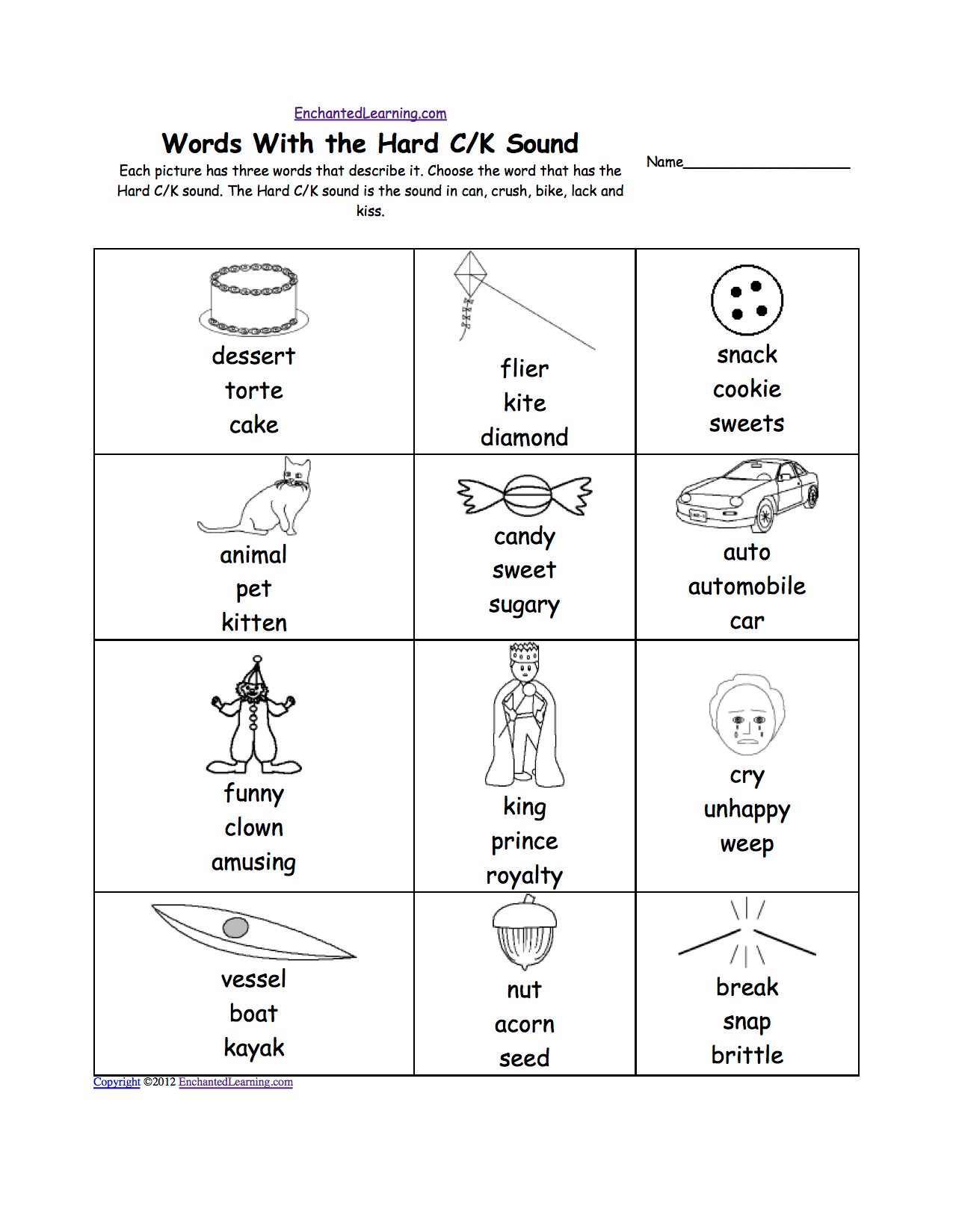 Cat C Phonics Worksheet