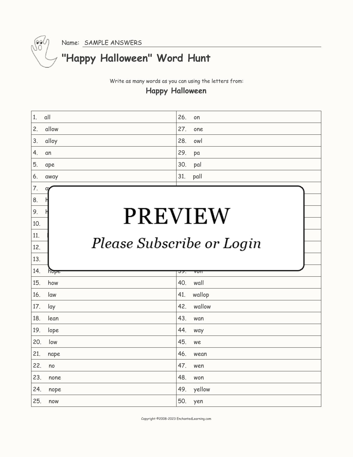 50 Blank Happy Halloween Word Hunt Worksheet