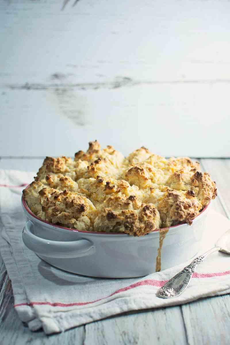 Enjoy this rich and warming Chicken Mushroom & Leek Cobbler for dinner! Recipe @LittleFiggyFood