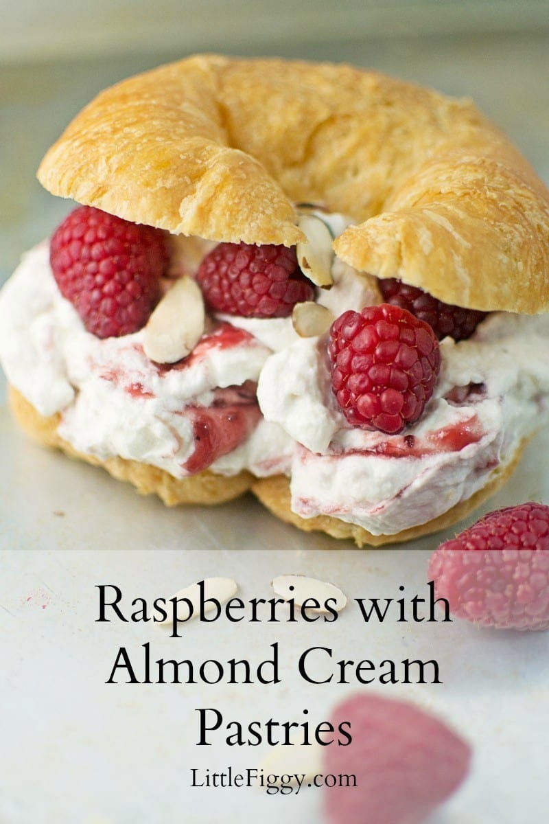 Raspberries with Almond Cream are perfect for when you are short on time, but want to serve something scrumptious. Recipe found @LittleFiggyFood