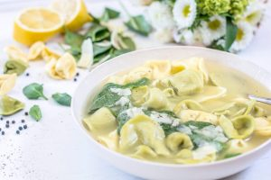 Try this brightly flavored spinach and Tortellini Soup, so easy to make and perfect for entertaining guests. Get the recipe at Little Figgy Food