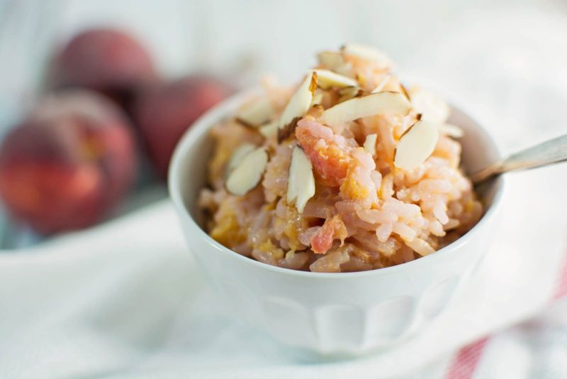 This is a great dessert recipe that is easy and quick to make, Peaches and Cream Fried Rice! Recipe @LittleFiggyFood