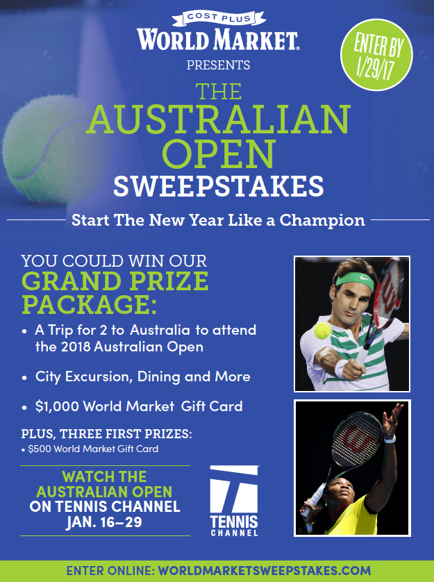 Australian Open Sweepstakes from Cost Plus World Marketer
