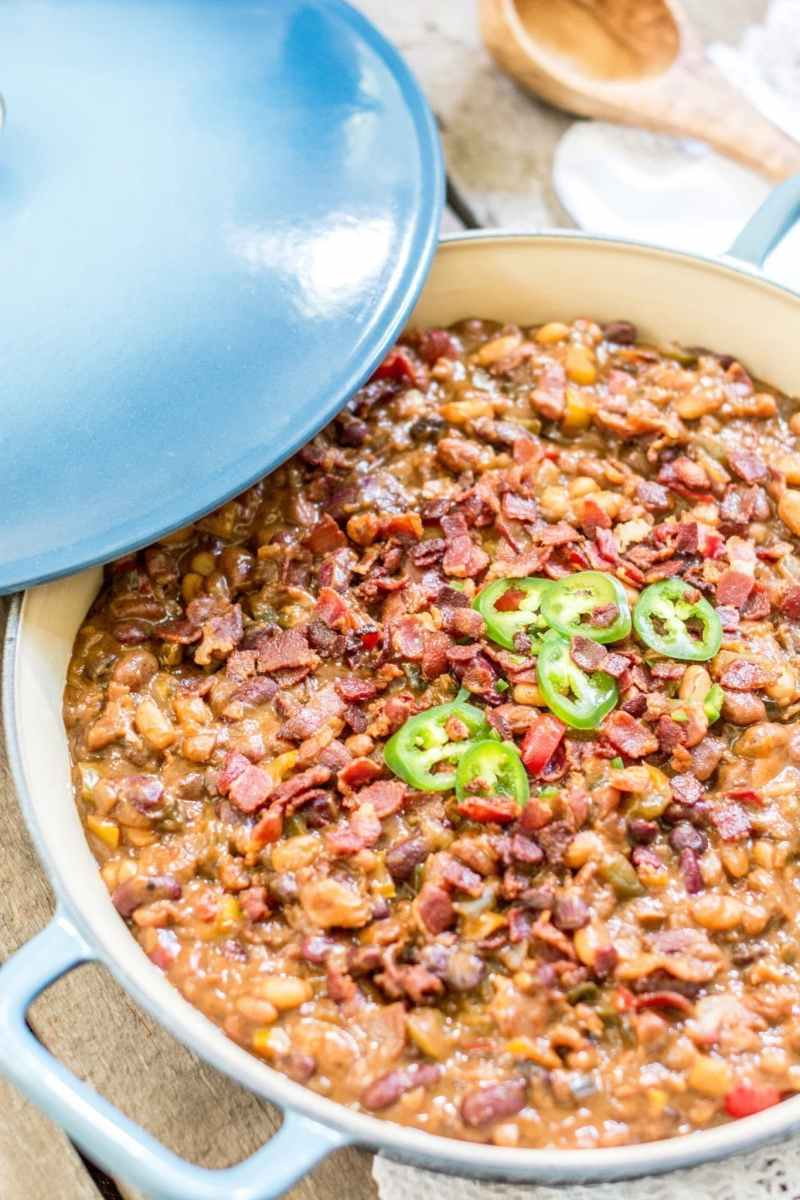 Amazing loaded and smokin' BBQ Beans! Feed the masses this summer, find the recipe at Little Figgy Food. Find the Fait Tout pan from @LeCreuset. #ad #lecreuset