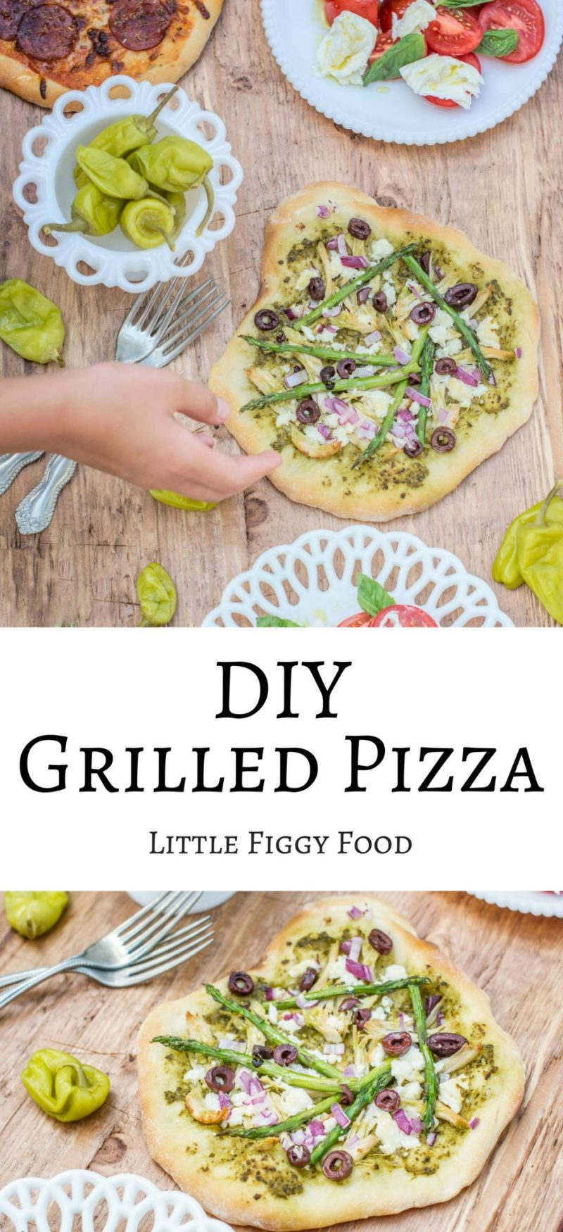 Make your grilled pizza your way then bake it up on the grill or in a wood fire pizza oven for the best pizza you'll ever enjoy! Recipe at Little Figgy Food. #ad
