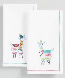 Embroidered Llama Napkins Set