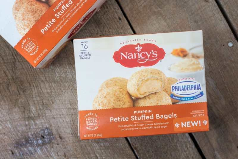 NANCY'S Pumpkin Petite Stuffed Bagels, the perfect addition for holiday entertaining! Learn more at Little Figgy Food. #ad #ViveLeBrunch