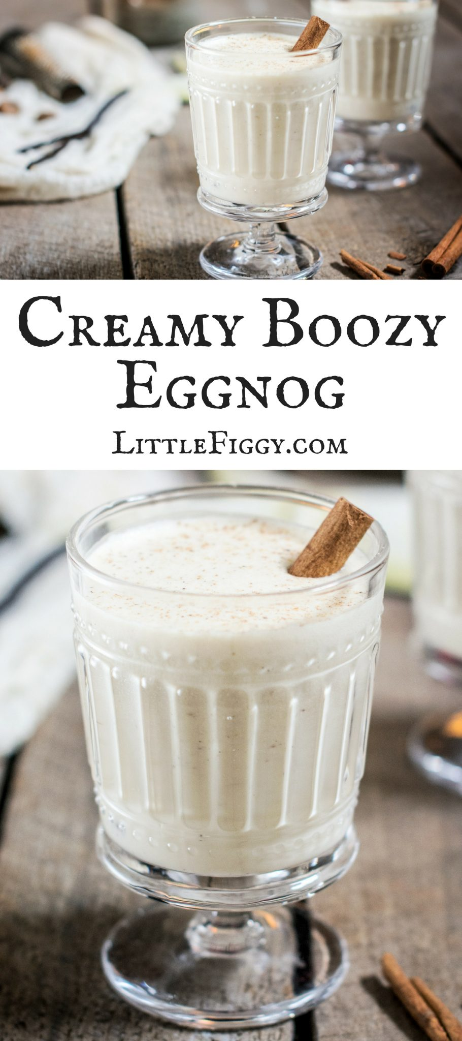 A Boozy and Merry Eggnog, perfect for celebrating the holidays! Get the recipe at Little Figgy Food!