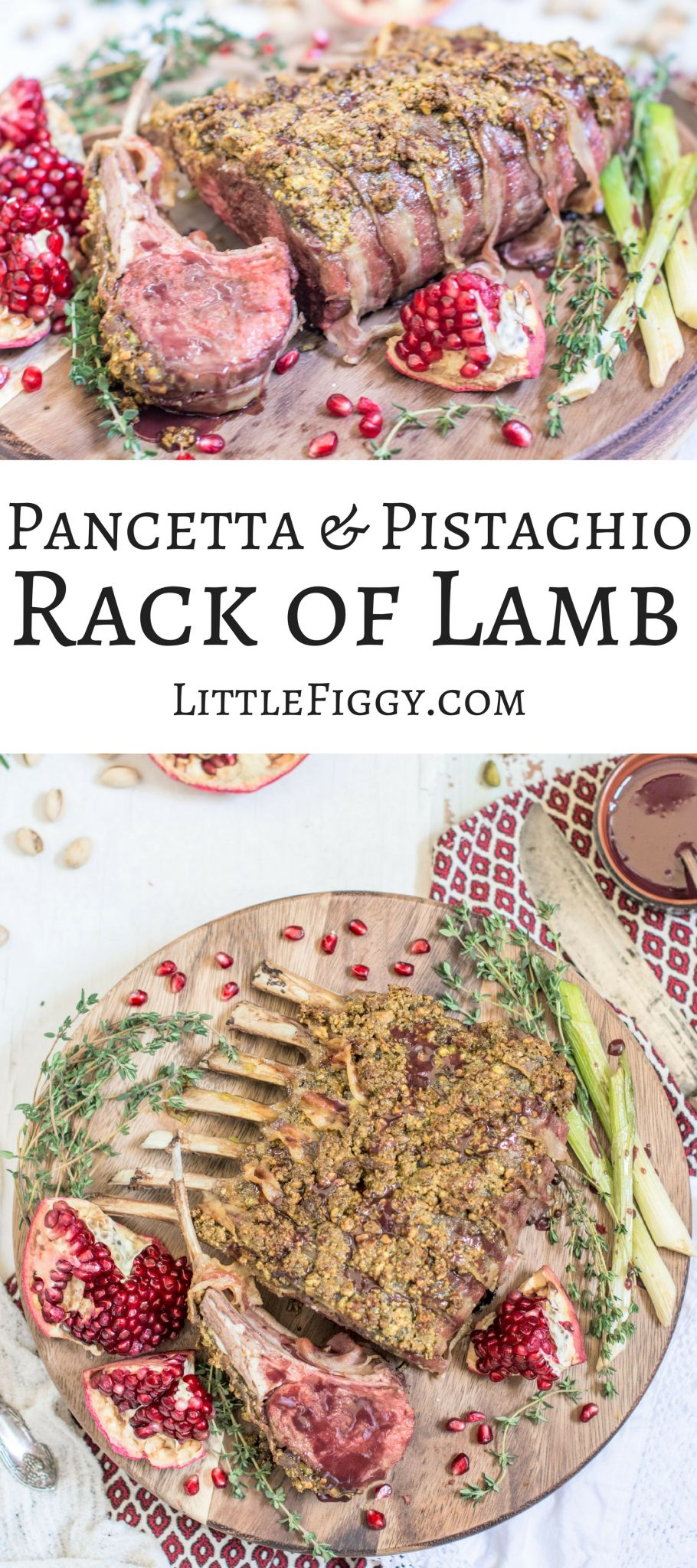 Pancetta wrapped Pistachio Rack of Lamb with a velvety and rich Pomegranate Sauce for drizzling! Get the recipe at Little Figgy Food! @TheFreshMarket #TFMfortheHolidays #ad