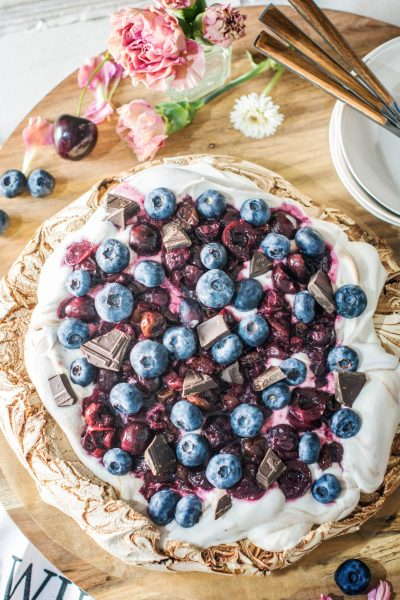 Chocolate Pavlova with Cherries and Blueberries. Get the Recipe at Little Figgy Food. @WorldMarket # #worldmarkettribe #ad