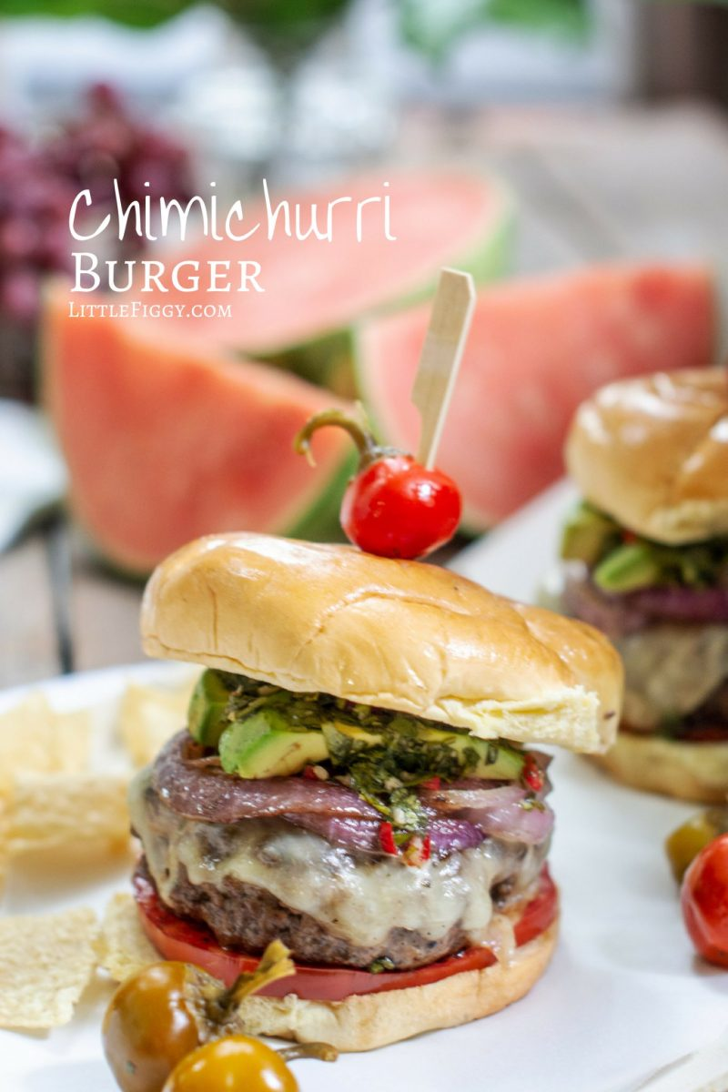 Chimichurri Burger Recipe with avocado, onions, tomatoes on a brioche bun