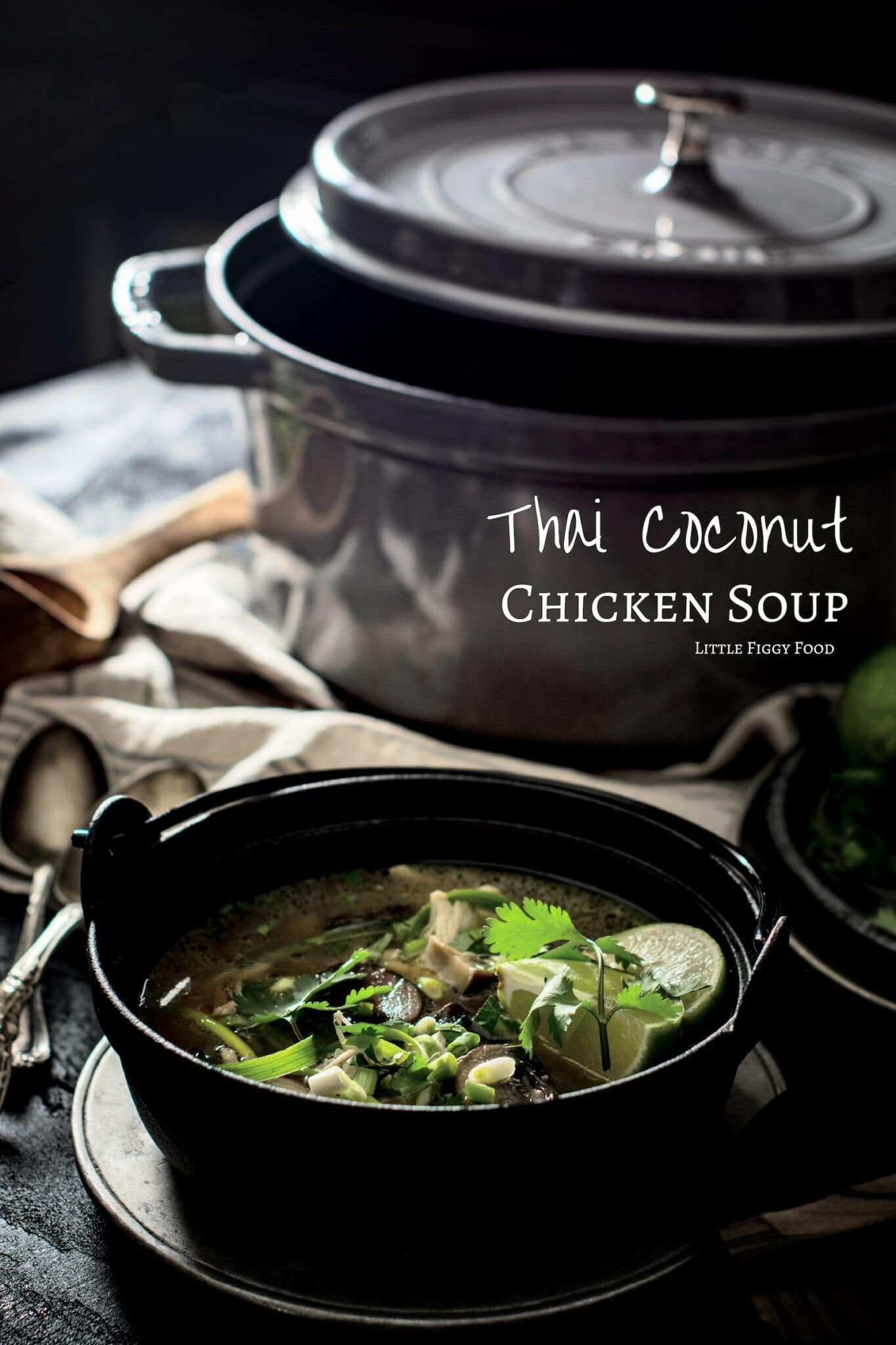 Try this easy to make Thai Coconut Chicken Soup - Tom Kah Gai recipe and enjoy the aromatic, intense flavors to warm you up. Get the recipe at Little Figgy Food. Ad. @zwillingjah #Staub #recipeoftheday #Thaifood #chicken #soupsandstews