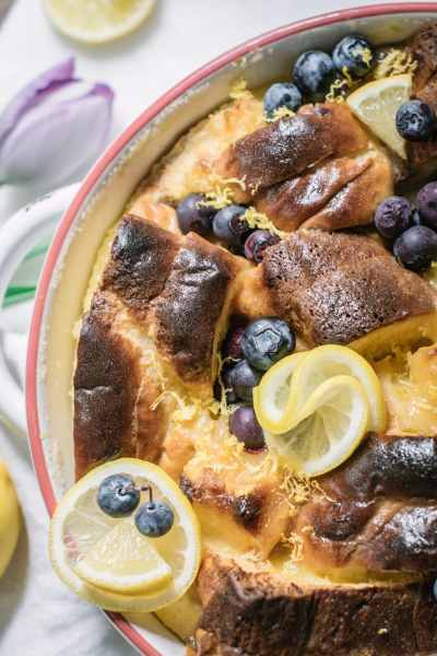 Lemon curd and blueberries Brioche Bread Pudding