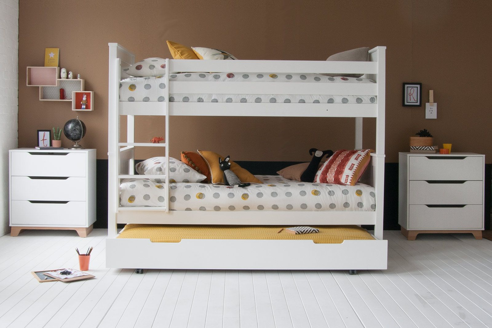 Classic Beech Bunk Bed With Trundle Pure White Solid Storage Bunk Bed Little Folks Furniture