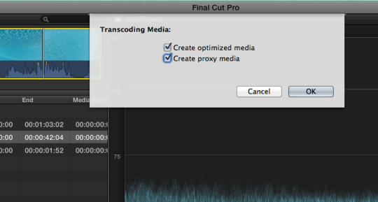 FCP   Little Frog in High Def You can create ProRes master media  and proxy media at the same time if you  wish  Or just full res optimized media  ProRes 422   or just Optimized  Media