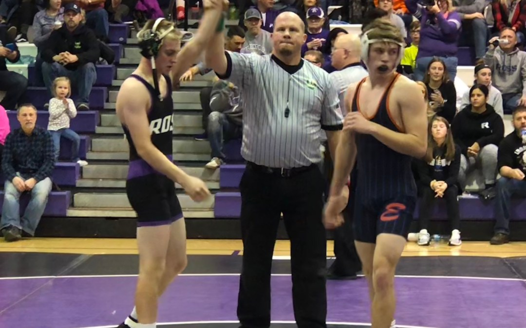 Weaver, Weissinger and Wood win by pins as shorthanded Ross wrestling loses to Edison