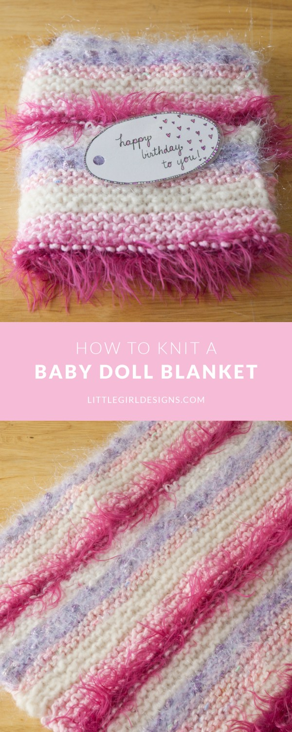 What a great idea! Here's an easy tutorial on how to knit a baby doll blanket using leftover yarn scraps.