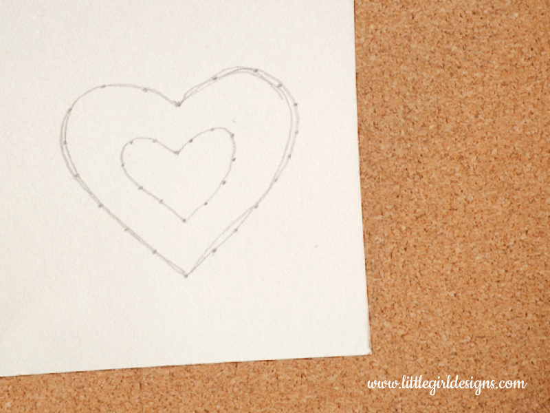Hand-stitch a card photo of heart drawing