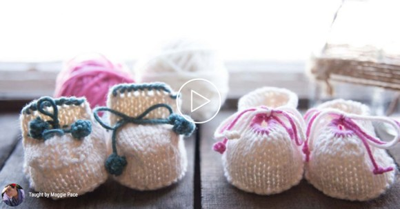 If you're on a roll with knitting for baby, try these super cute booties! They are for beginning knitters and this class includes video instruction.