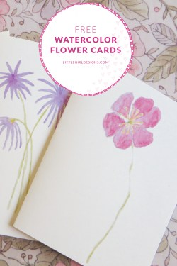 Free Watercolor Flower Cards - These sweet watercolor cards are free printables on my site. @littlegirldesigns.com